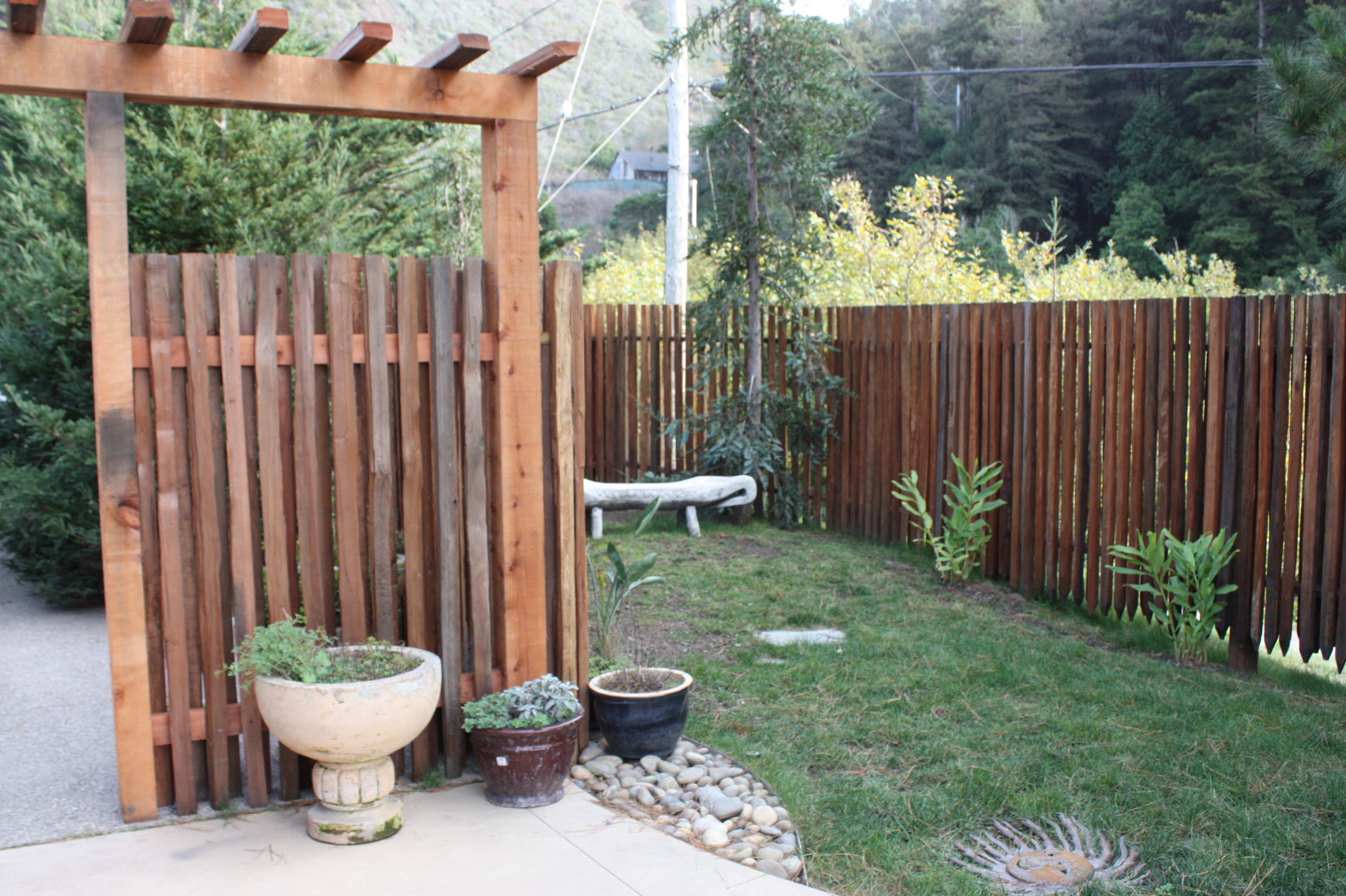 Redwood Grape stake fence