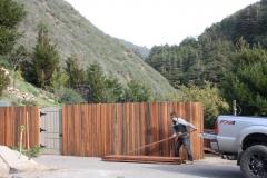 Salvaged Redwood split Grape Stake fence