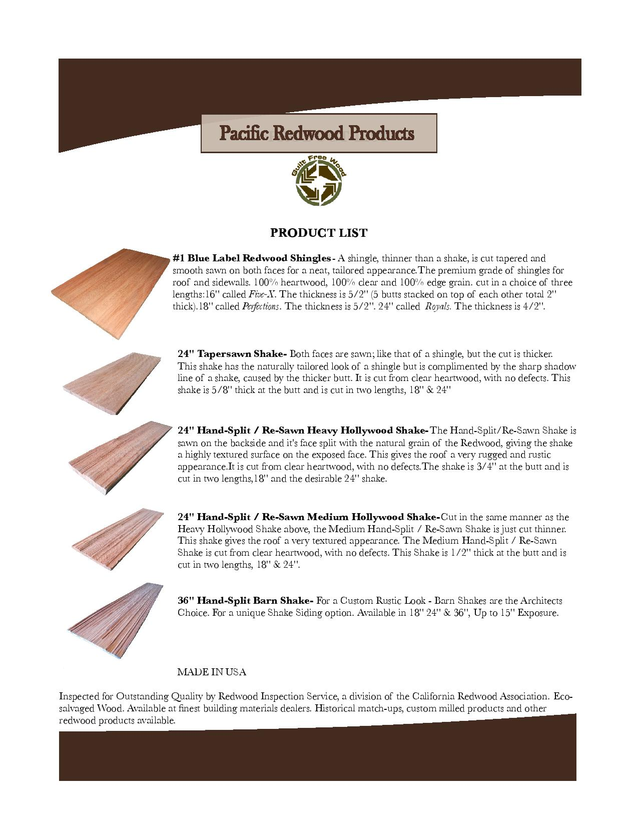 Redwood shingles & shakes-Pacific Redwood Products LLC